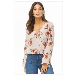 Floral & Striped Surplice Top by Forever 21 (NEW)